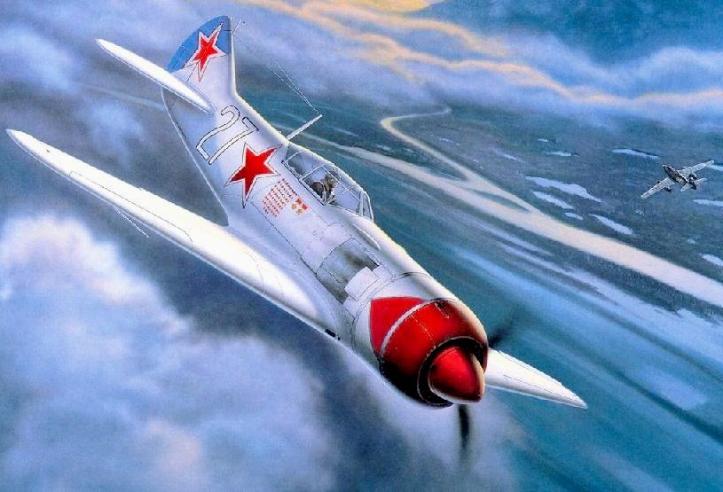 самолет Кожедуба в атаке