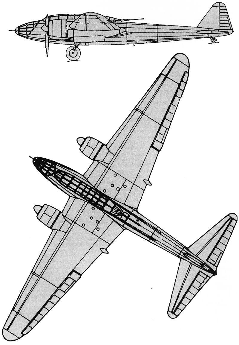 Схемы и чертежи самолета Амио 354.