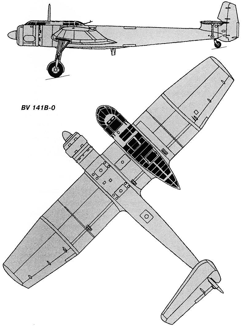 Схемы и чертежи ассиметричного самолета Блом и Фосс BV-141.