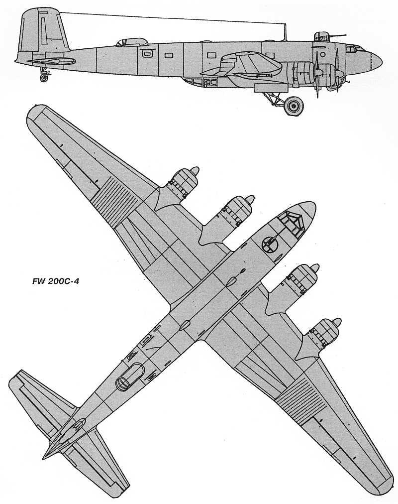Схемы и чертежи самолёта Фокке-Вульф FW-200C Condor.