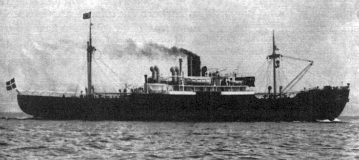 """Пароход """"Челюскин"""" под датским флагом направляется в Ленинград, 1938 г."""